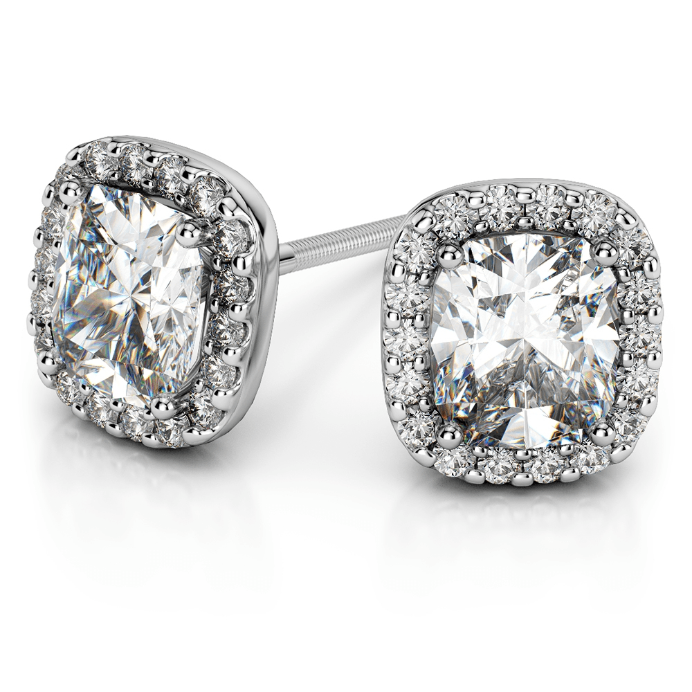 Halo Cushion Diamond Earrings Settings in White Gold