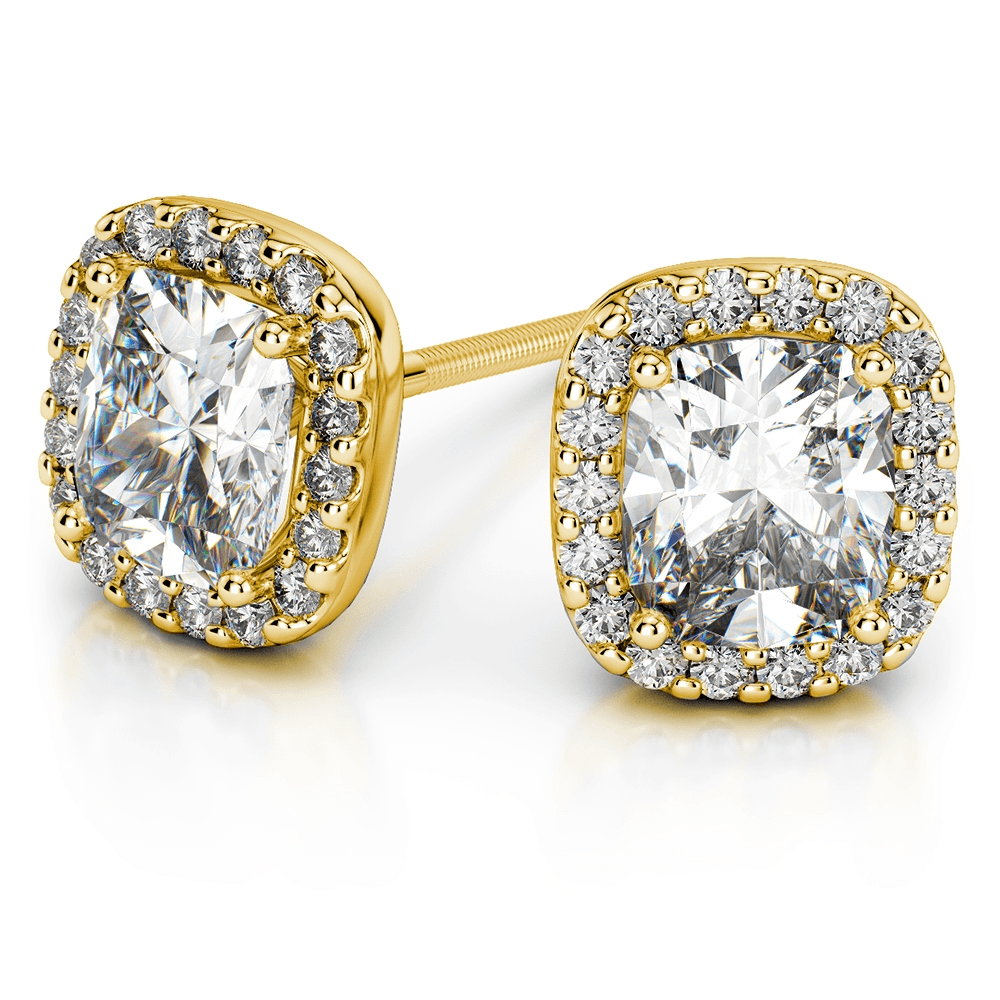 Halo Cushion Diamond Earring Settings in Yellow Gold