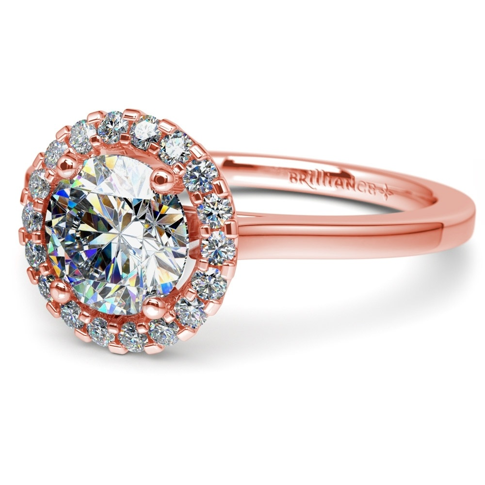 Pavé Halo Diamond Engagement Ring in Rose Gold