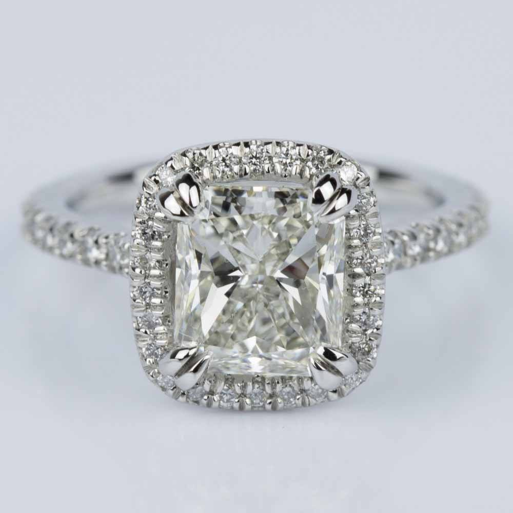 Radiant Halo Diamond Engagement Ring
