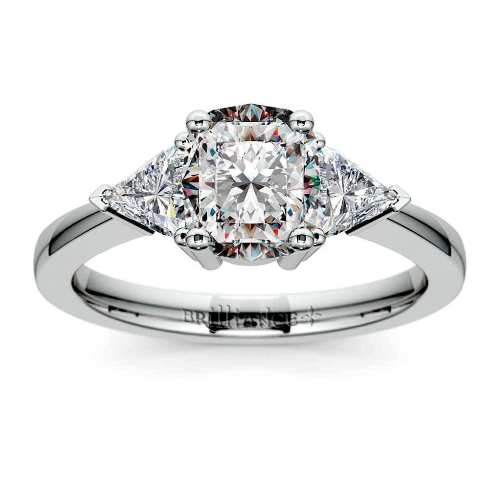 Trillion Diamond Engagement Ring in White Gold