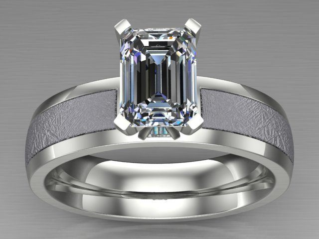 Custom Platinum Solitaire Ring with Emerald Cut Diamond and Meteorite Inlay
