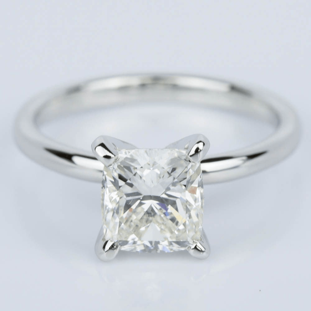 Cushion Cut Diamond Solitaire Engagement Ring in Platinum