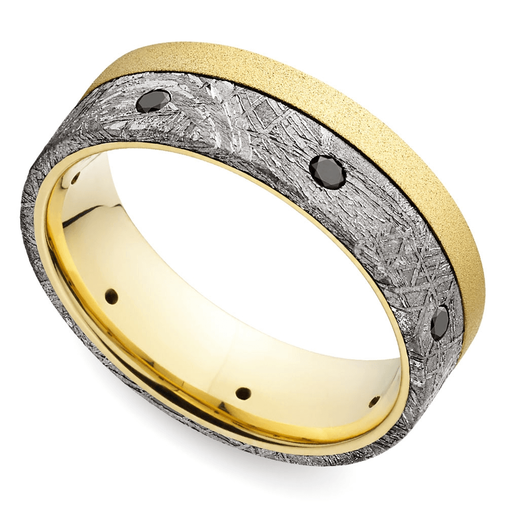 Black Diamond Men's Wedding Rings with Meteorite Inlay in Yellow Gold