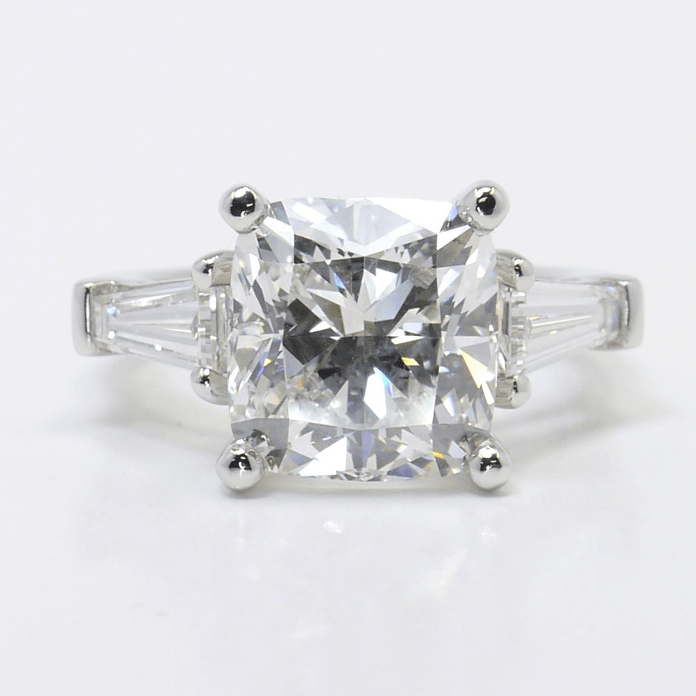Classic Cushion Cut Three Stone Baguette Ring