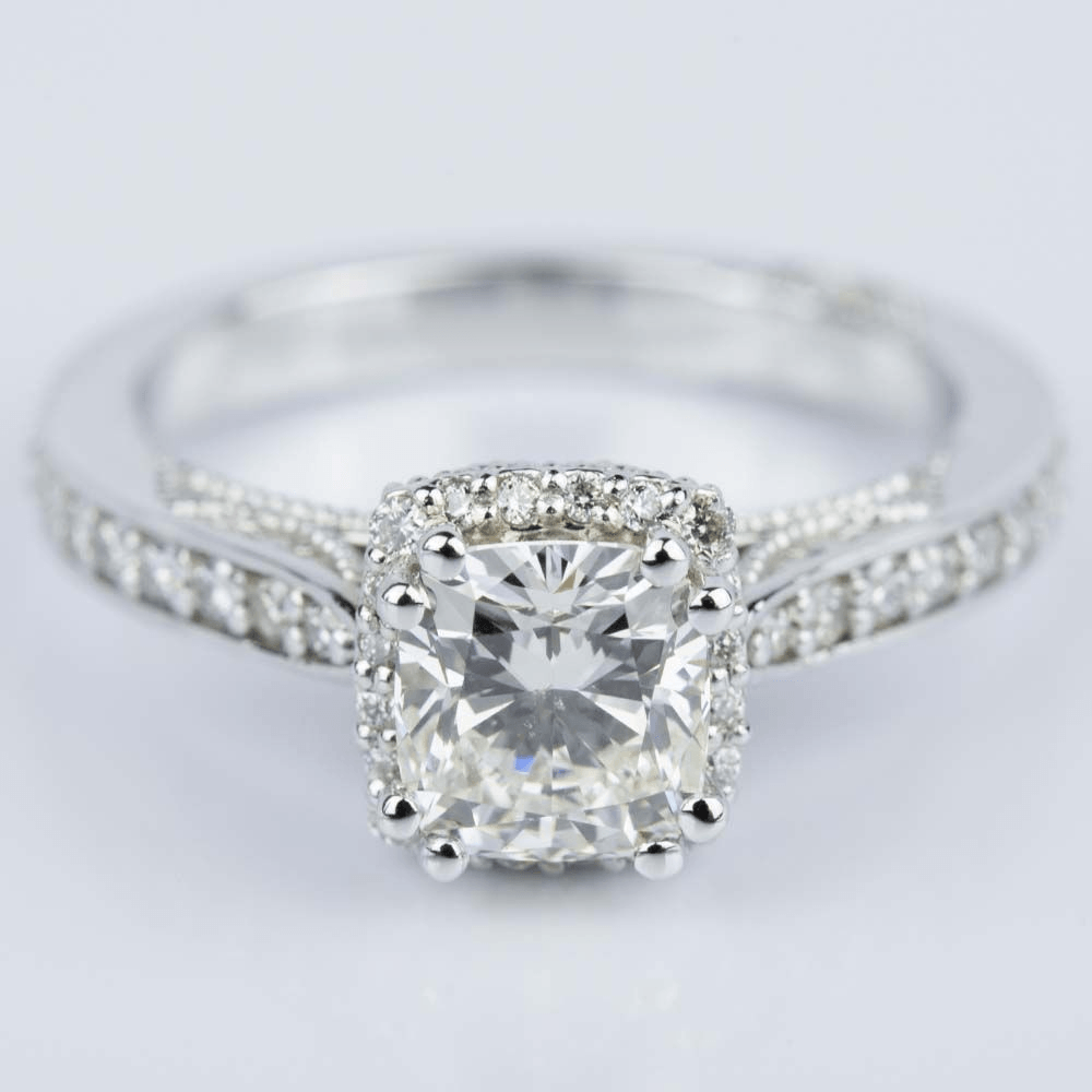 Milgrain Petite Halo Cushion Diamond Engagement Ring in White Gold