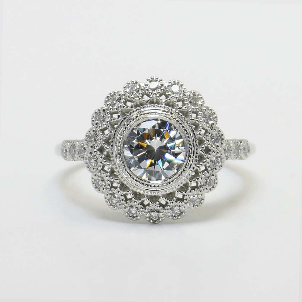round gold ring ohzdari inspired only nature fashion settings diamond wedding flower white rings