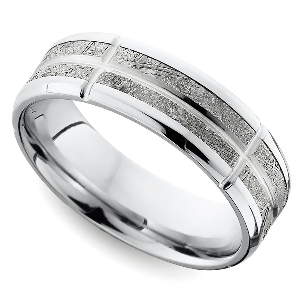 Segmented Meteorite Inlay Flat Men's Wedding Band in Cobalt