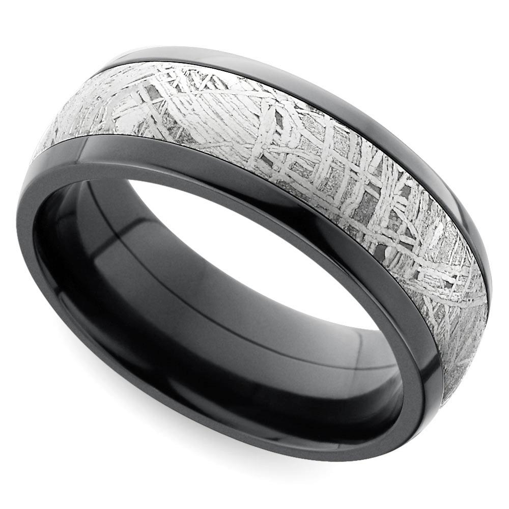 Comfort Fit Men's Wedding Ring with Meteorite Inlay in Zirconuim