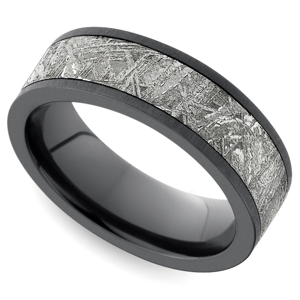 Flat Satin Men's Wedding Ring with Meteorite Inlay in Zirconium