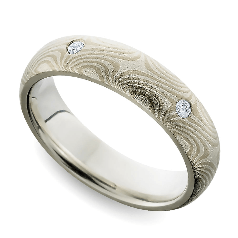 Inset Diamond Mokume Gane Men's Wedding Ring