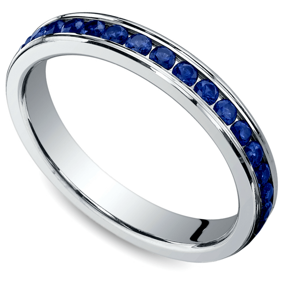 Channel Sapphire Eternity Ring in Platinum