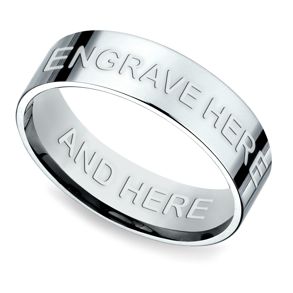 Engraved Flat Men's Wedding Ring in Platinum
