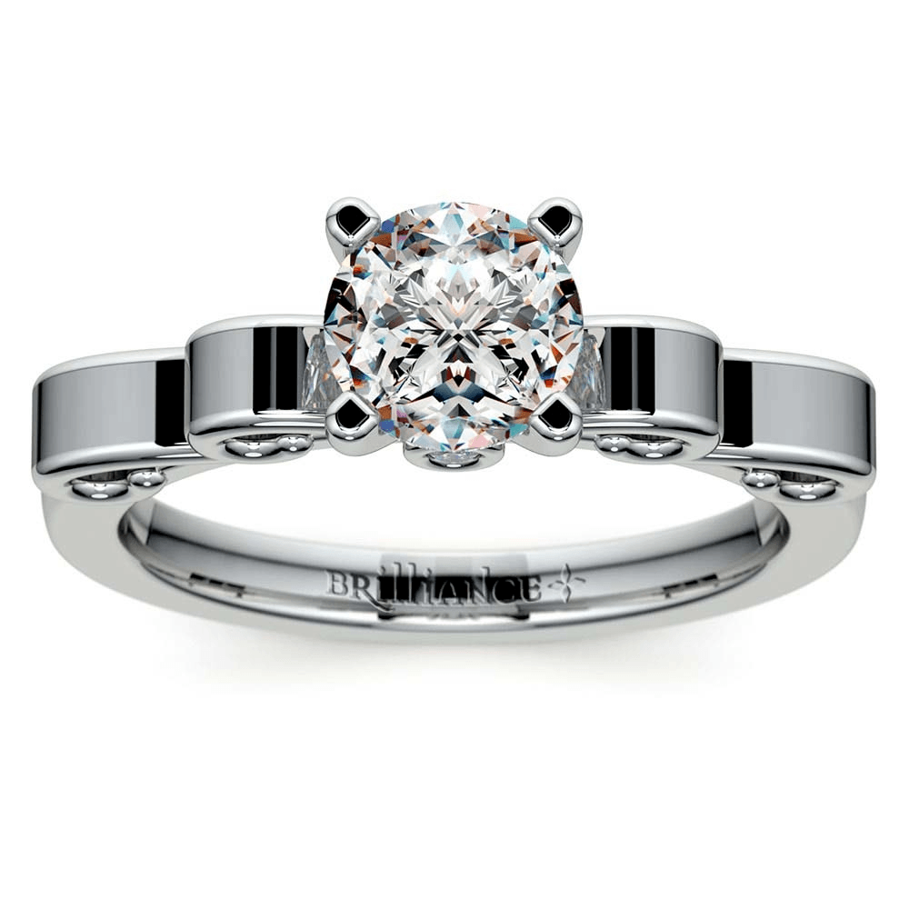 Cinderella Ribbon Solitaire Engagement Ring in White Gold