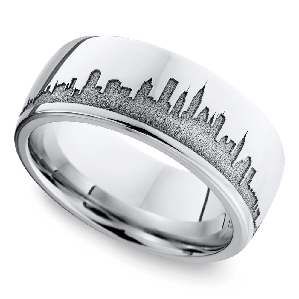 new york new york skyline mens wedding ring - Wedding Ring Man