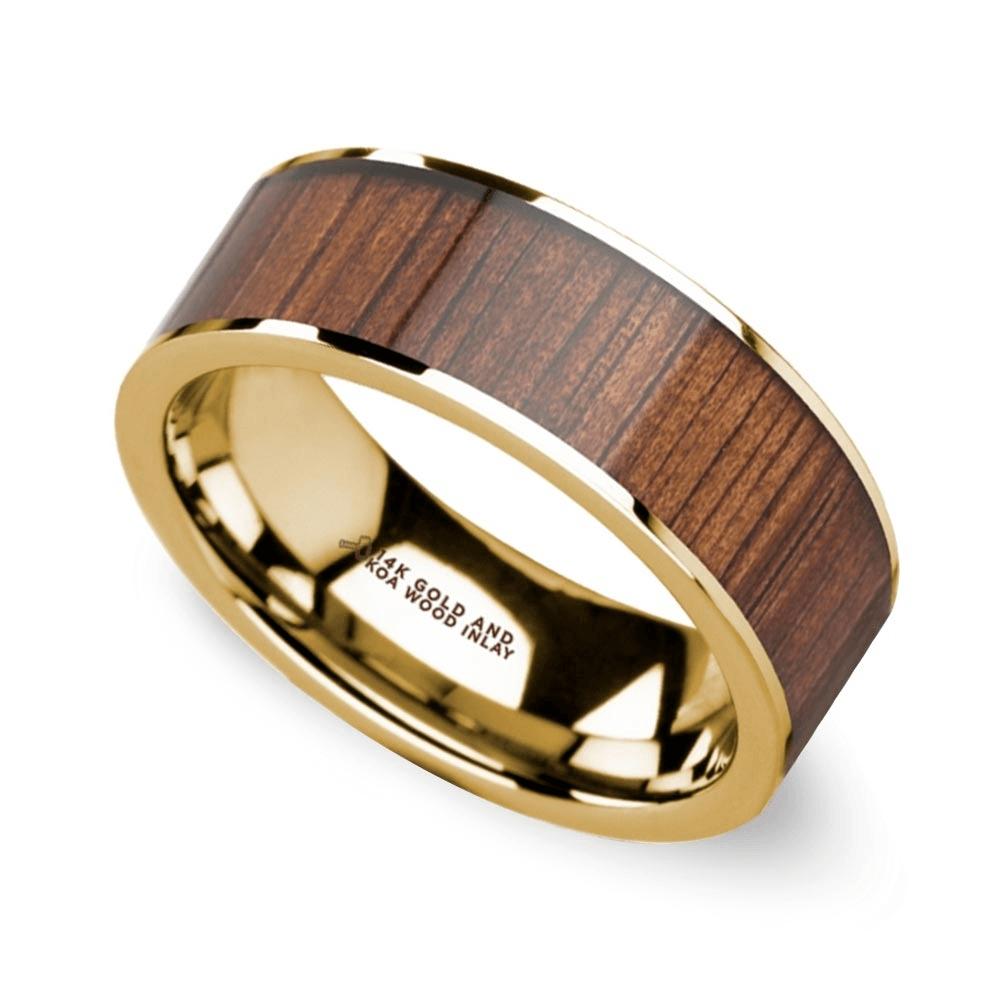 wide koa wide koa wood inlay mens wedding - Unique Mens Wedding Rings