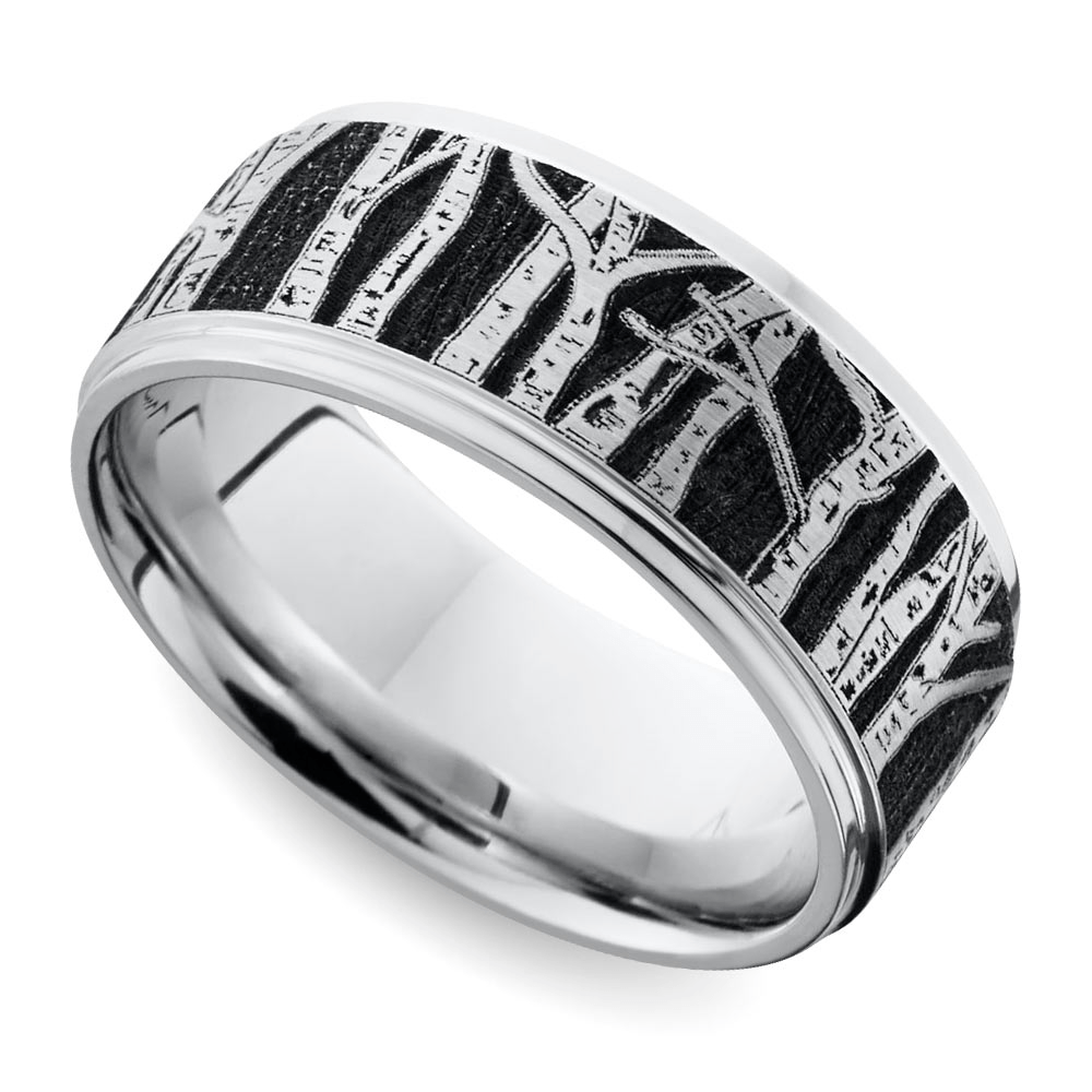 laser carved aspen design mens wedding band - Nature Inspired Wedding Rings