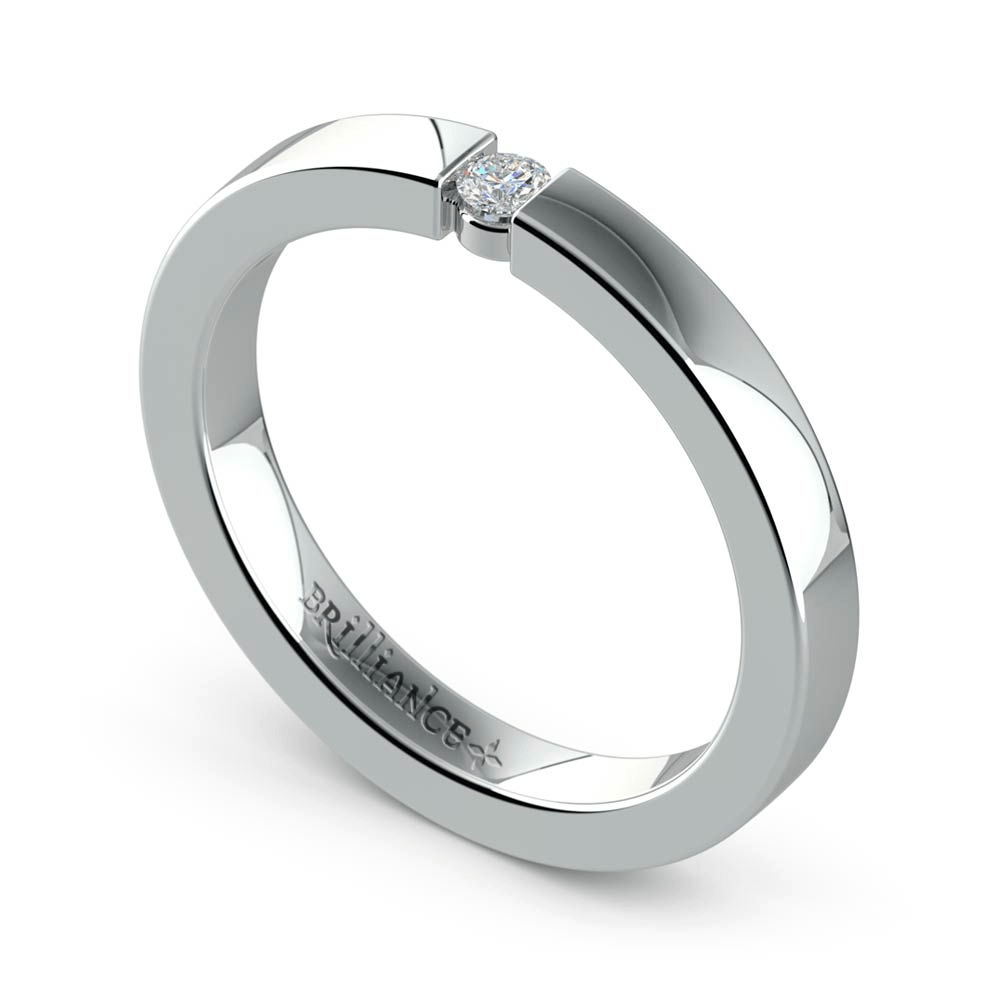 Flat Promise Ring with Round Diamond in White Gold