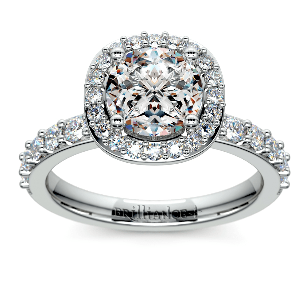 Antique Halo Diamond Engagement Ring in Platinum