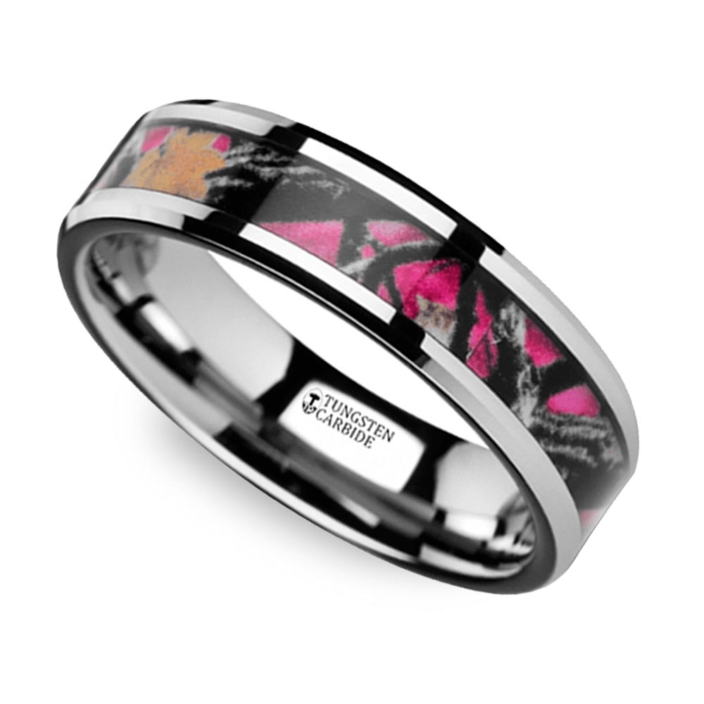 wedding ring1 pink oak leaf camo wedding ring - Pink Camo Wedding Rings For Her