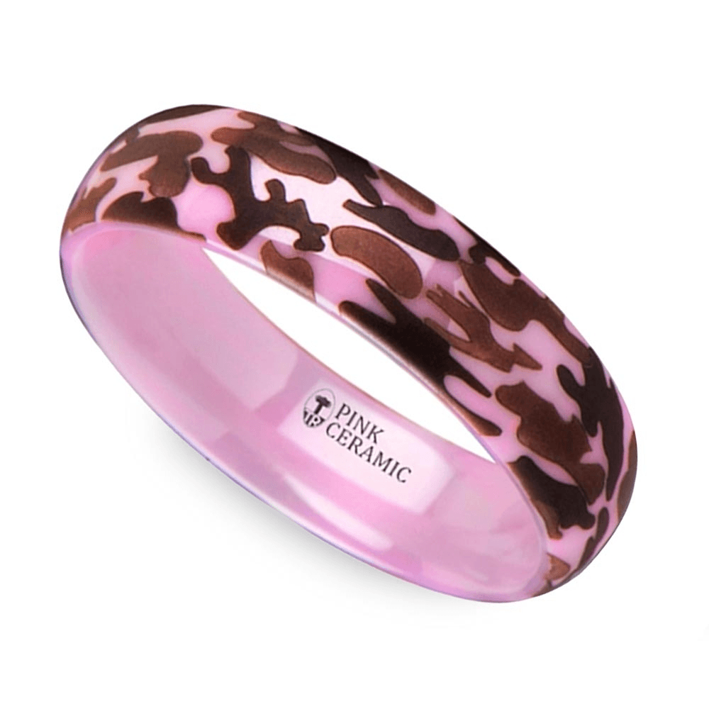 wedding ring2 laser engraved pink camo - Pink Camo Wedding Rings For Her
