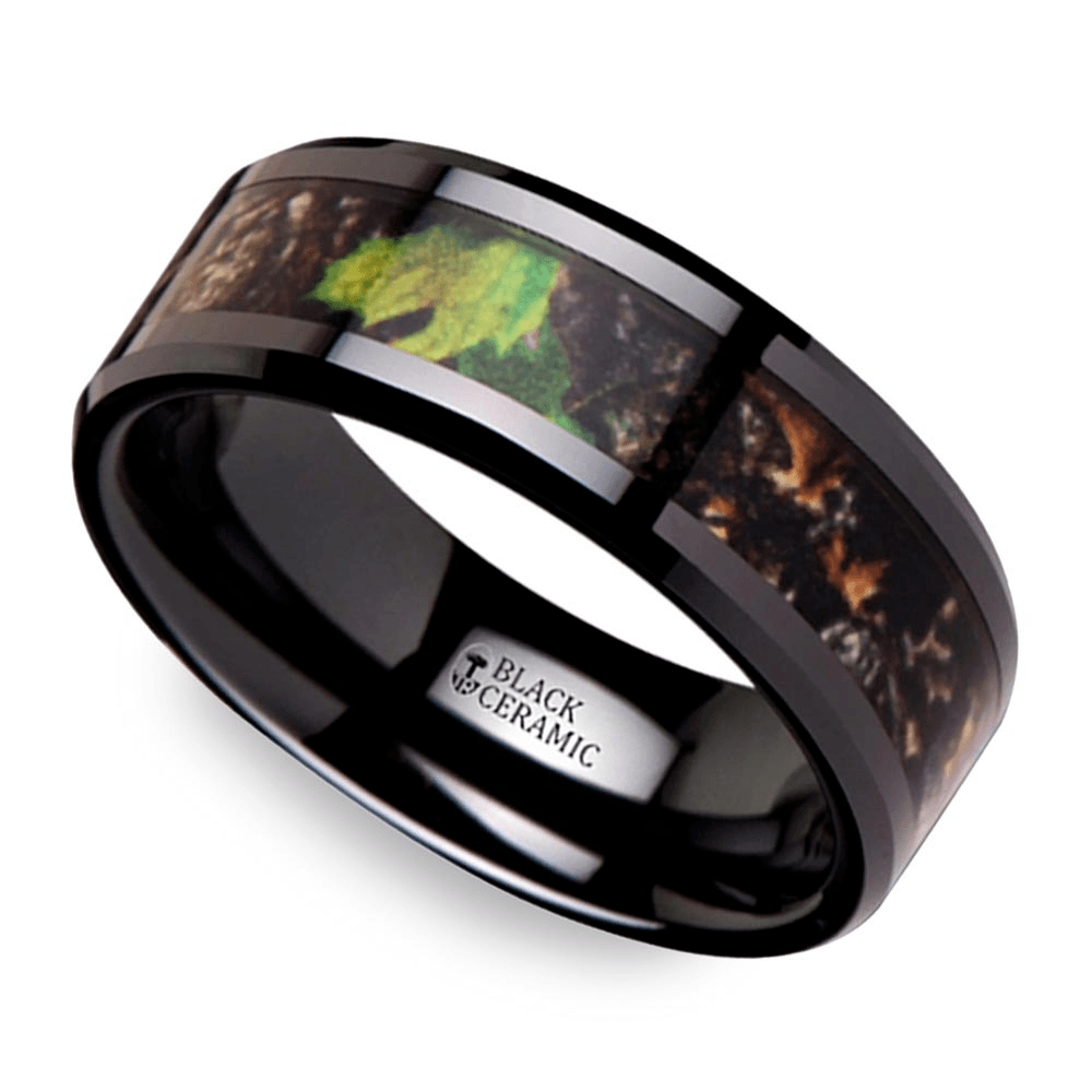 men winter band camouflage camo summer inlay rings tungsten burton wedding for ring leaves watch