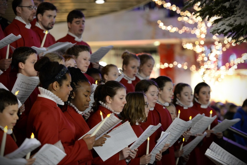 choir performed traditional Christmas carols for visitors to the mall