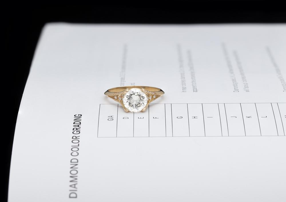 The diamond is given a color grade based on its appearance