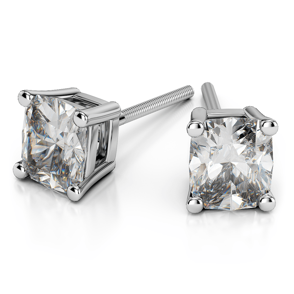 Cushion Diamond Stud Earrings in White Gold