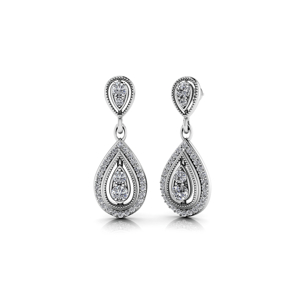 Diamond Dangle Earrings in White Gold