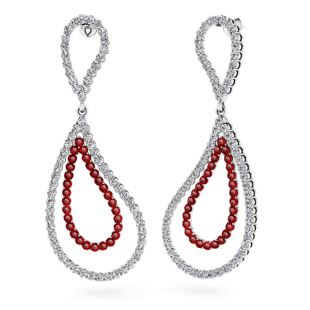 Curvy Diamond & Ruby Link Earrings in White Gold