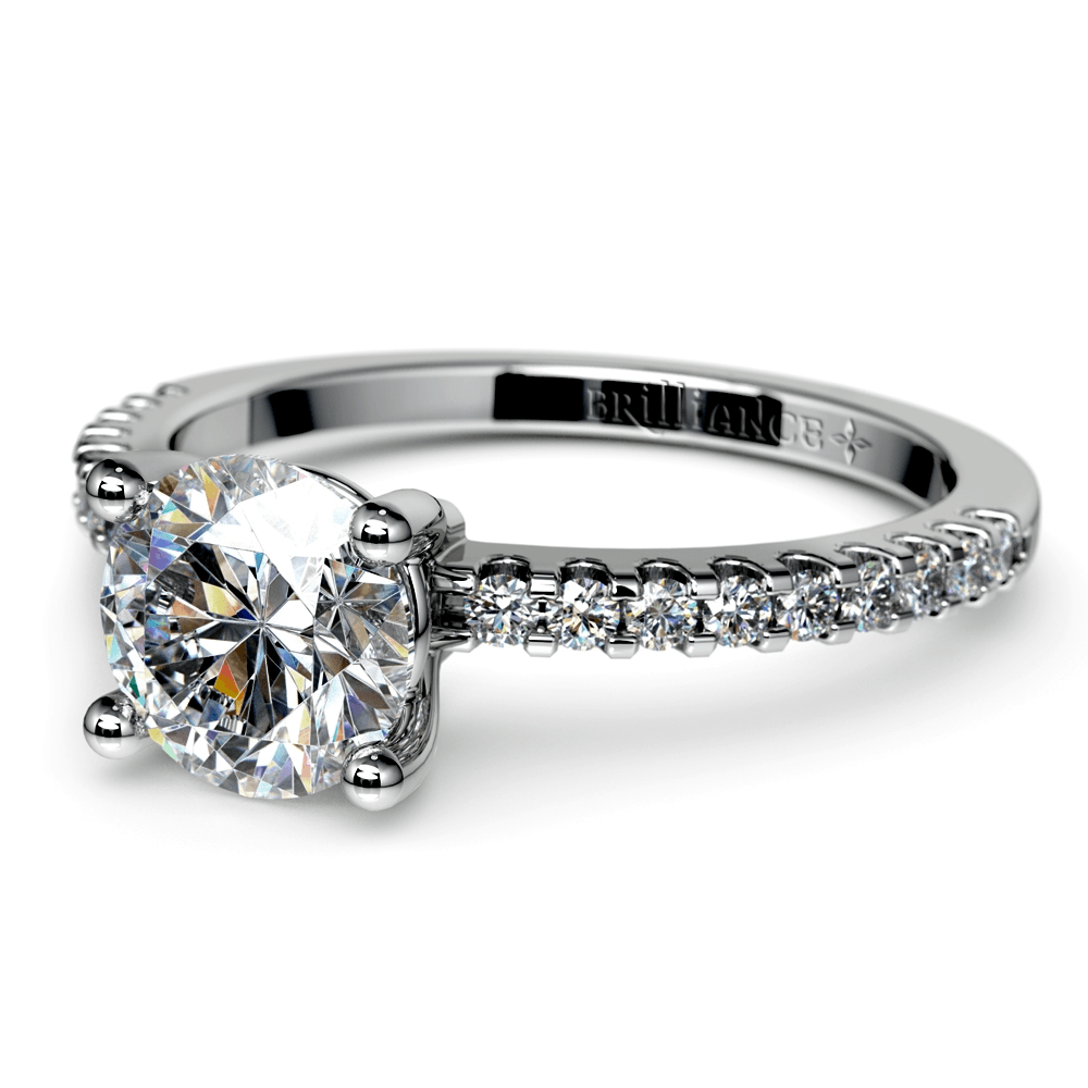 Pave Diamond Preset Engagement Ring in White Gold