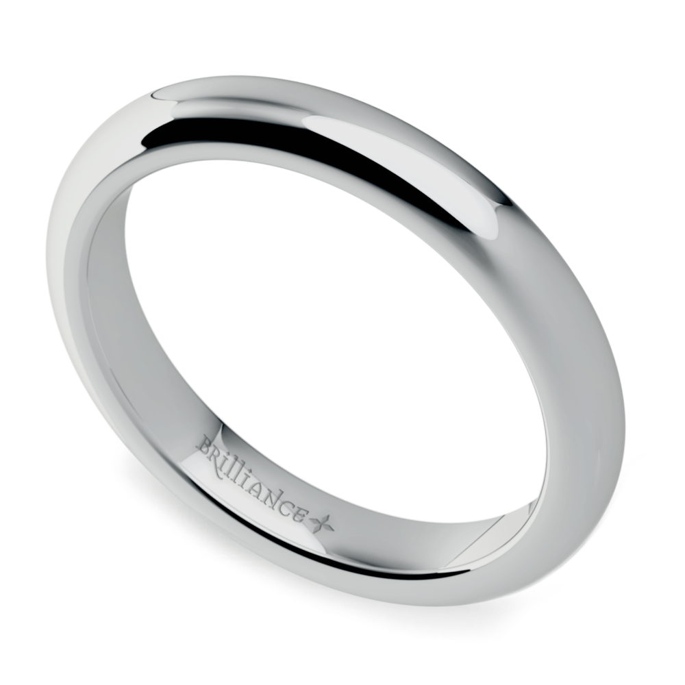 Comfort Fit Wedding Ring in White Gold
