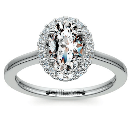 Pave Halo Diamond Engagement Ring in White Gold