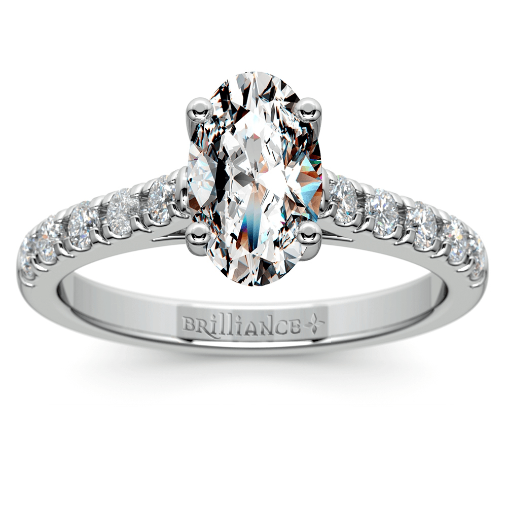 Trellis Diamond Engagement Ring in White Gold