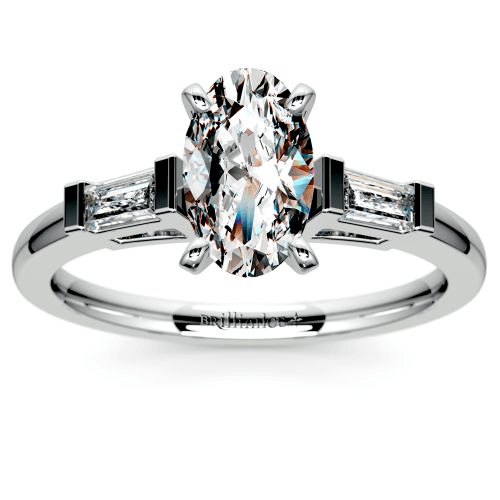 Baguette Diamond Engagement Ring in White Gold
