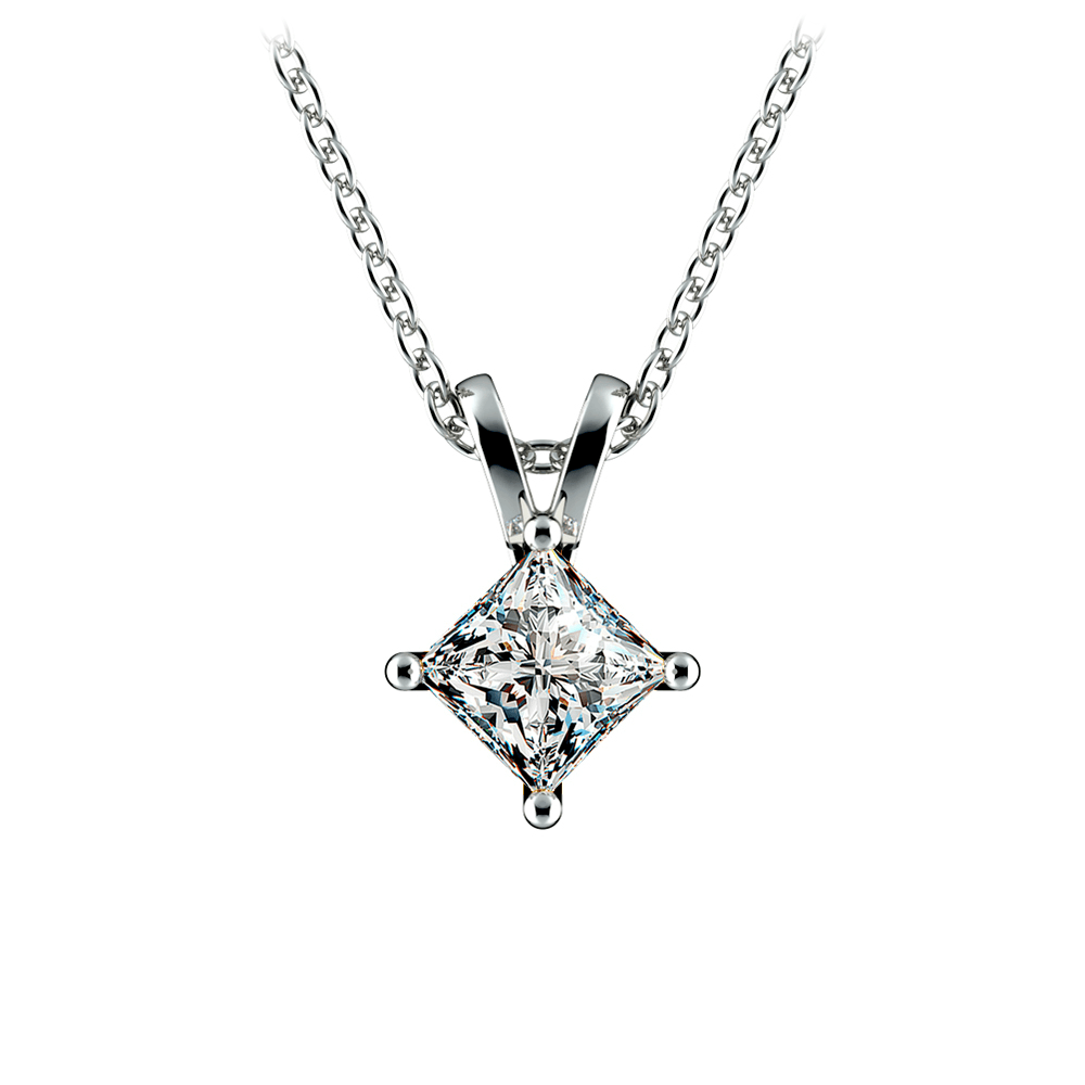 Princess Diamond Solitaire Pendant in White Gold