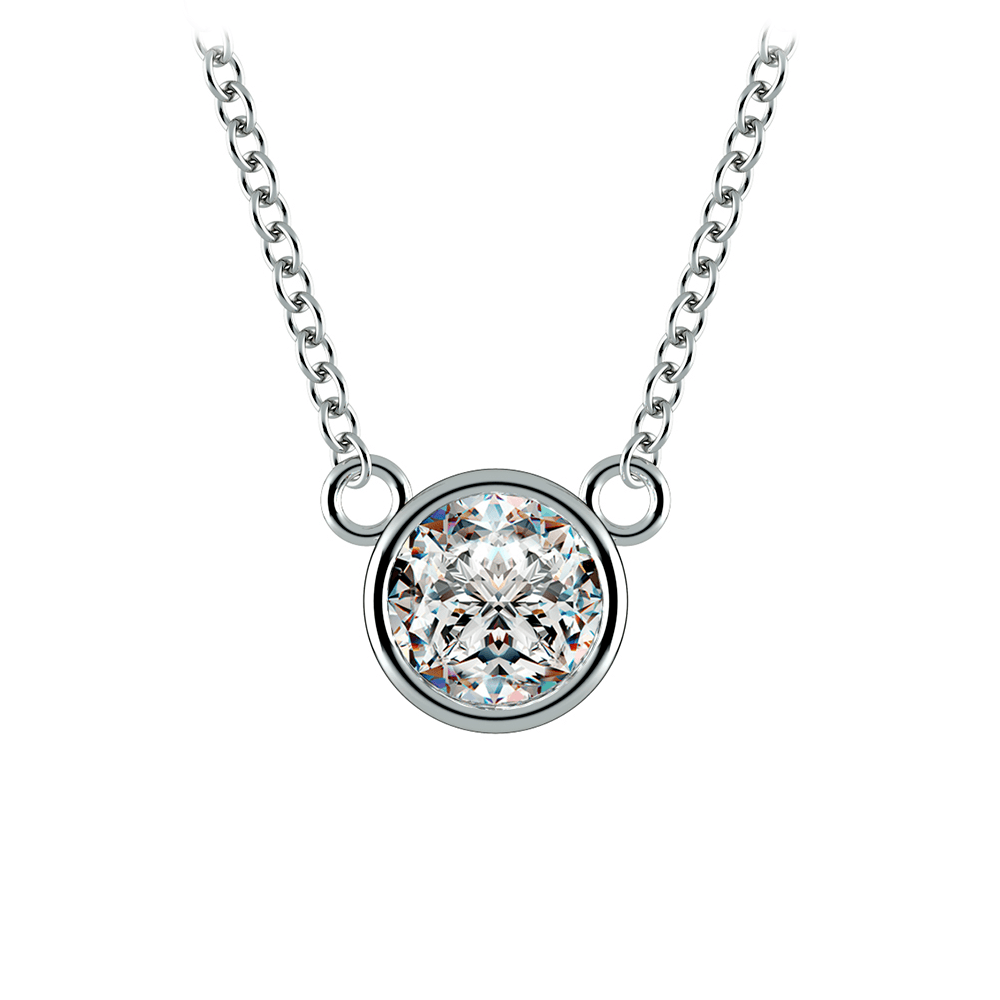 Bezel Diamond Solitaire Pendant in White Gold