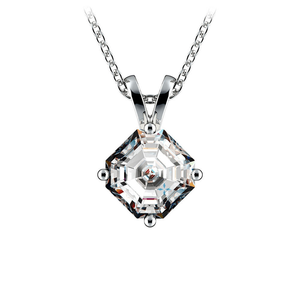 Asscher Diamond Solitaire Pendant in Platinum