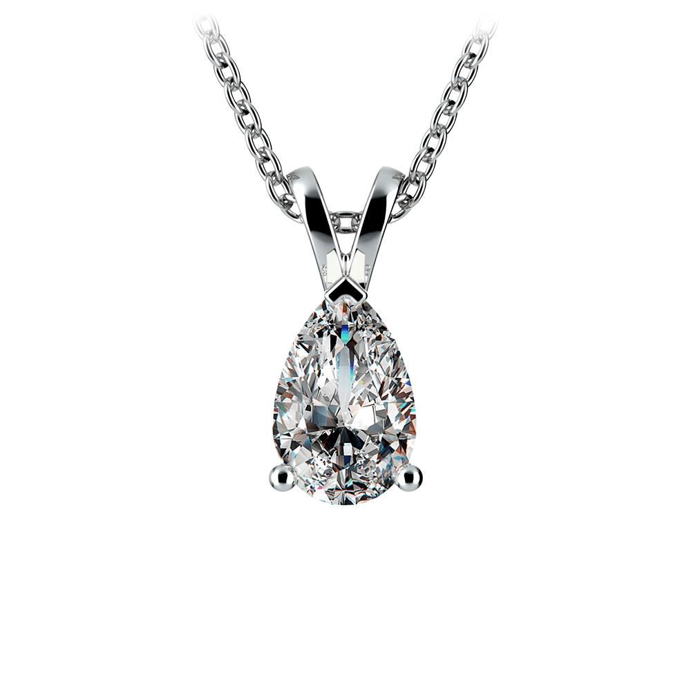 Pear Diamond Solitaire Pendant in Platinum