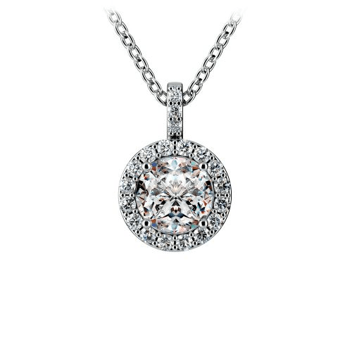 Halo Diamond Solitaire Pendant in Platinum