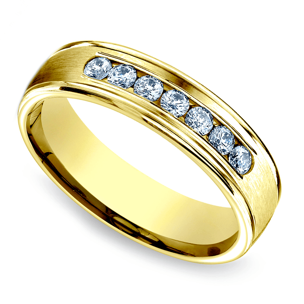 Yellow gold men's wedding vow renewal rings with channel-set diamonds nod to old Hollywood romance