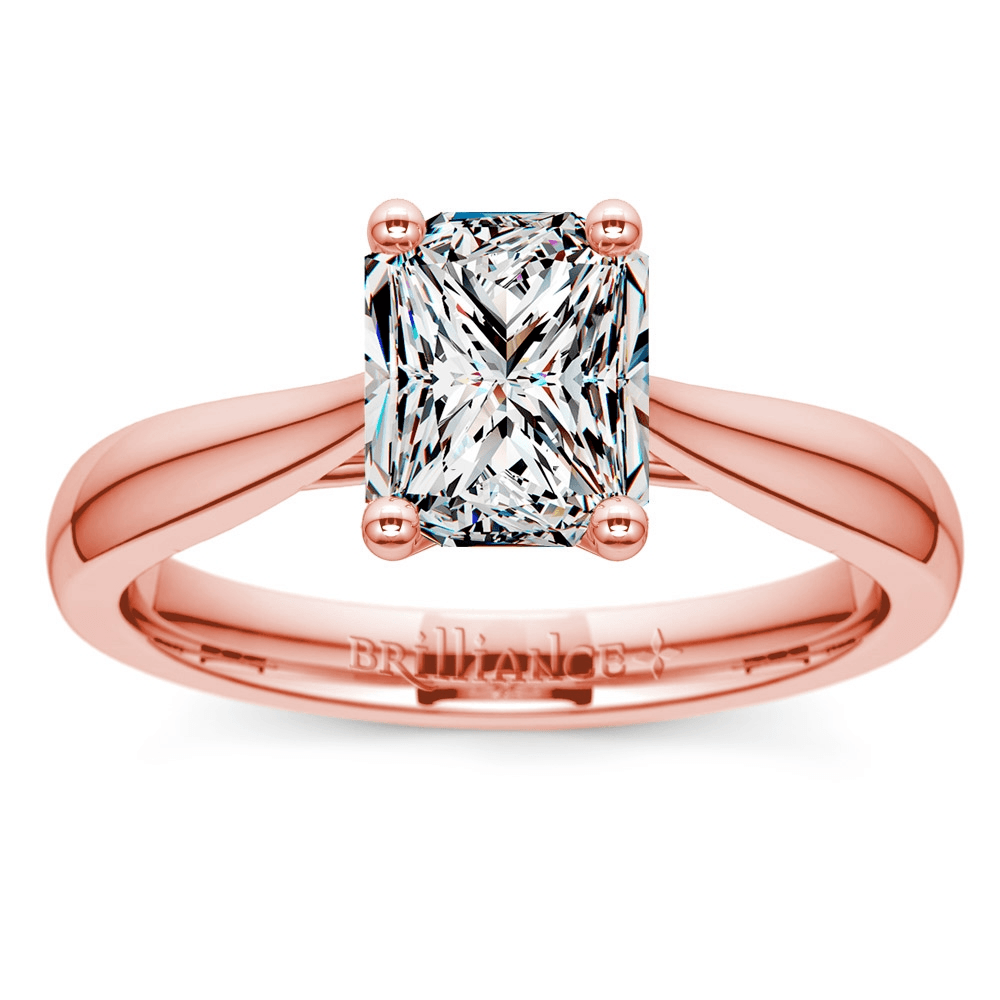 Taper Solitaire Engagement Ring in Rose Gold