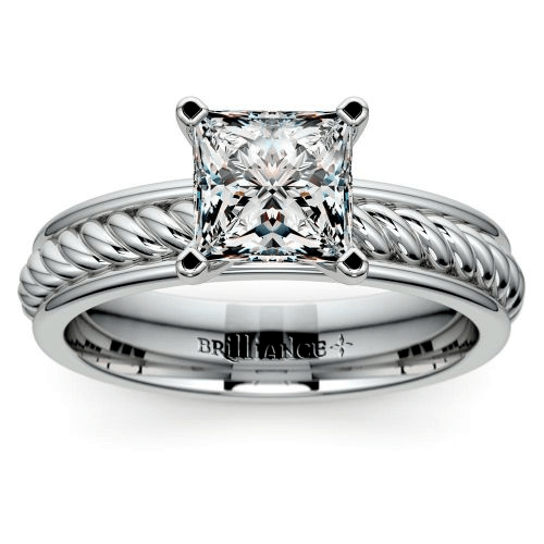 Twisted Rope Solitaire Engagement Ring in Tulip Setting
