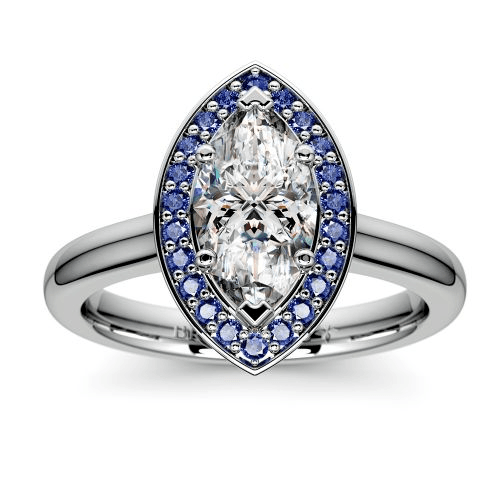 Halo Sapphire Gemstone Engagement Ring
