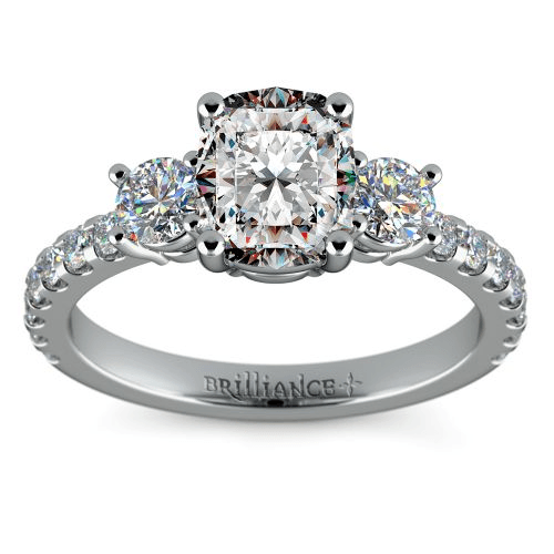 three stone diamond scallop engagement ring with a one carat cushion center - Wedding Ring Cuts