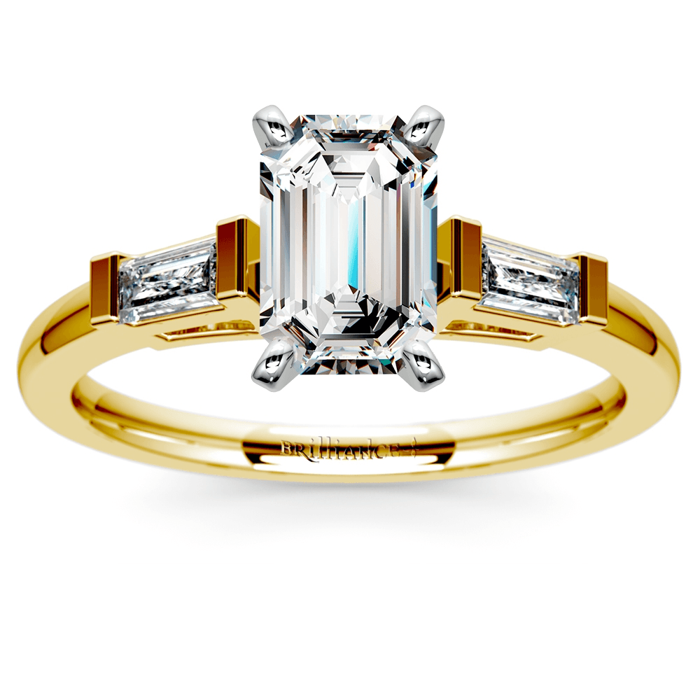 Baguette Diamond Engagement Ring in Yellow Gold