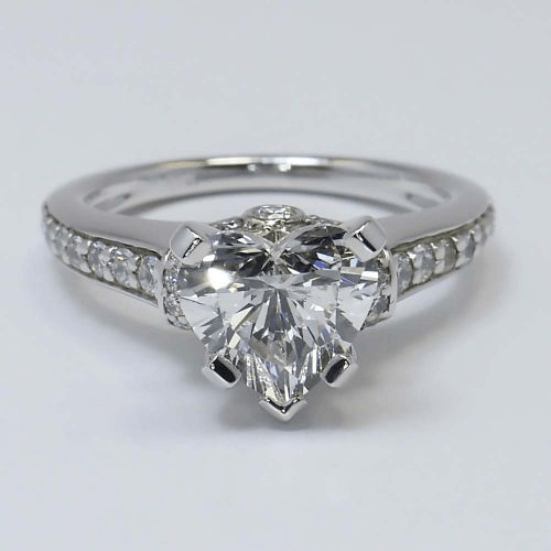 Ribbon Ring with Heart Shaped Diamond