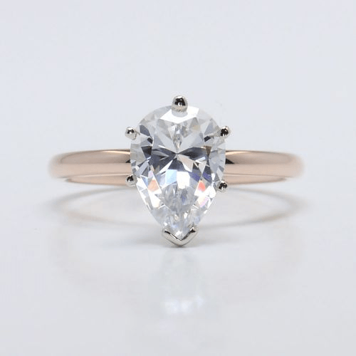 Solitaire Pear Engagement Ring in Rose Gold