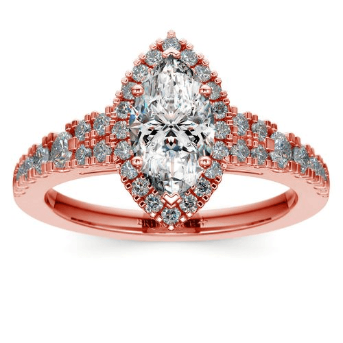 Petite Split Shank Halo Diamond Engagement Rose Gold
